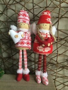 Heaven Sends red and white knitted Scandi Christmas angels heart or star 25cm