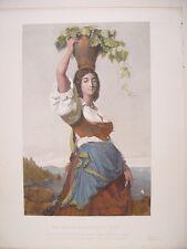 Italia. «The Grape-Gatherer of Capri» Incisione Pierre Metzmacher (engraving)