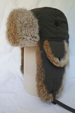 Hunting Aviator Alaskan Trail Rabbit Fur Hat Bomber Olive Green Medium (M)