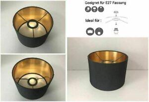 E27 Stoffschirm Ersatzschirm Tischlampe Pendellampe Lampenschirm schwarz-gold 20