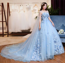 Blue Applique Train Wedding Dresses With Cloak Quinceanera Formal Pageant Gown