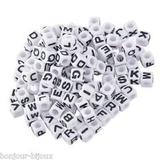 Neuf 300 Mixte Perles Cube Acrylique Alphabet/Lettres 7x7mm