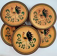 Set of Five Pennsbury Pottery Red Amish Rooster Dinner Plates Vintage Folk Art