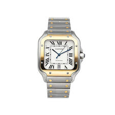 Cartier Santos Steel Silver Dial Automatic Mens Watch W2SA0006