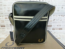 FRED PERRY Side Bag Men's L6201 Classic Black Flight Shoulder Pu Body Bags BNWT