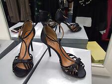 Cecille BNIB UK 4 Divine High Heel Black T-Strap Bow Evening Sandals Shoes EU 37