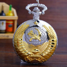Vintage USSR Soviet Badges Sickle Hammer Pocket Watch Mens Women Necklace Watch