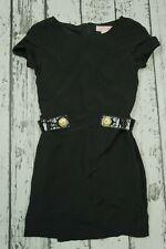 VERSACE FOR H&M BLACK DRESS GOLD BUTTON 100% SILK SIZE EU 36 US 6