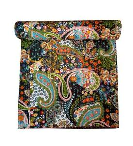 Indian Handmade Paisley Kantha Quilt Cotton Queen Size Bedding Throw Bedspread