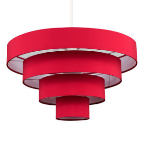 Modern 4 Tier Easy Fit Ceiling Pendant Light Shade Cotton Fabric Lampshade Home