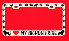 I Love My Bichon Frise Chrome License Plate Frame Tag Dog Paw Weatherproof Vinyl