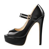 Onlymaker Women's Platform Peep Toe Pumps Patent Leather Sandals Stilettos Black