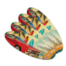 Red Classic Muscle Car Beach with Surf Boards Oval Nail File Emery Board 4 Pack