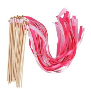 30 pcs Fairy Twirling Ribbon Bell Wands Wedding Party Supplies Pink