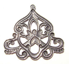 0161 Antiqued Brass Sterling Silver Filigree Bell Centerpiece Component Charm