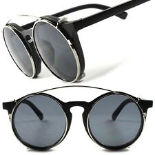 Old Vintage Retro Funky Goth Style Steampunk Black Round Clip-Ons Sun Glasses