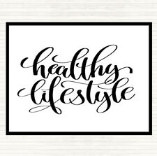 White Black Healthy Lifestyle Quote Dinner Table Placemat