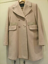 TARA JARMON Double-Breasted Cashmere & Wool Blend Coat Beige Pink  UK12