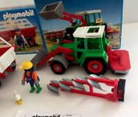 1992 PLAYMOBIL 3718 FARM FRONT LOADER TRACTOR & 3719 NEW OPEN STORE DISPLAY BOX
