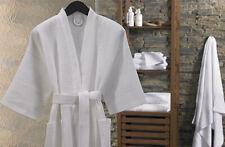 Orig $89 DIAMOND WAFFLE KIMONO BATH SPA ROBE 5* Hotel Men's Women's Cotton White