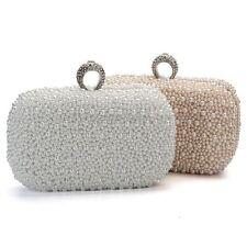 Women s Clutch Pearl Ring Diamond Bridal Evening Wedding Party Bag Chain  Handbag 70b5d1ff1ae3