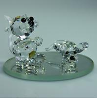 Glasfigur Katze Maus klarer Kristall  Swarovski Elemente Original Czech Rep.