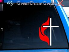 Methodist Cross Vinyl Decal Sticker -Color Choice- HIGH QUALITY