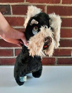 """Vintage Peter Pan Toys Brand Plush Black Terrier Dog Stuffed Animal 13.5"""""""