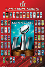 Super Bowl LI (Houston 2017) SUPER TICKETS 50 Years of History OFFICIAL POSTER