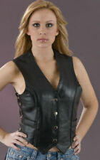 Milwaukee Leather Women's Braided -Side Lace Vest W/ Snaps & Gun pockets small
