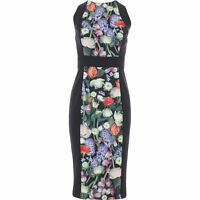"TED BAKER BLACK ""AKVA"" KENSINGTON FLORAL BODYCON DRESS - SIZE 3 - UK 12 NEW TAGS"