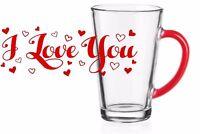 6  Latte Macchiato Gläser 300ml mit 6 Edelstahl-Löffel und Motiv Kaffeegläser