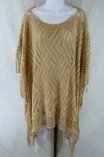 Life is Beautiful Womens Ladies Beige Sweater Poncho One Size New