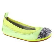 Yosi Samra Kids Girls Samara Shoes Ballet Style Sz 4 Neon Yellow & Silver