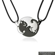 2x Set Cat Necklace Pendant Couples Best Friend Puzzle Yin and Yang Lover Gifts