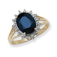 Sapphire Ring Diamond Engagement Large Cluster Dress Ring Yellow Gold Appraisal