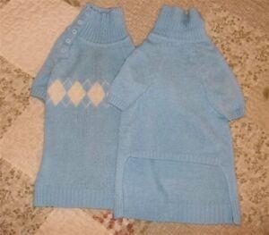 NEW Baby Sky Blue Dog Pet Preppy Argyle Sweater Button Side Stylish Collar  L
