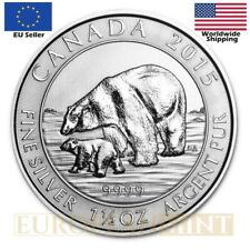 2015 1.5 oz $8 CAD Canadian Silver Polar Bear Coin (In capsule)