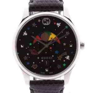 Gucci G Timeless Moon Phase 126.4 SSx Leather QZ Black Dial