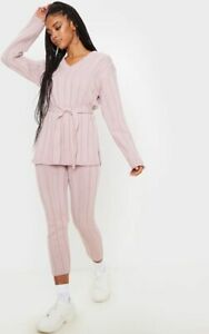 Womens Ladies Longline Belted Knitted Warm 2pc loungewear set Casual Tracksuit