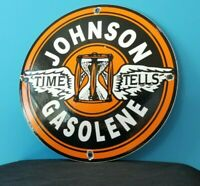 VINTAGE JOHNSON GASOLINE PORCELAIN SIGN GAS SERVICE STATION PUMP SIGN