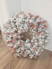 Wunderschöner Wachskranz Kranz Floristik Krokus grau rosa 35 cm NEU
