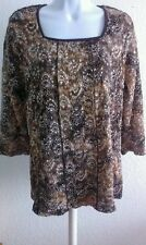 NWT! WOMEN CJ BANKS Romantic LACE BROWN FLOWERS 3/4 SLEEVE PULL ON TOP 14W X