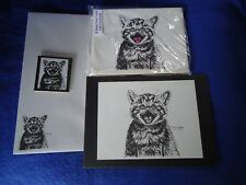 Meowing Kitten 4 Pc Set-Notepad, 6 Blank Notecards, Print and Magnet New