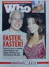 DANNII MINOGUE & JACQUES VILLENEUVE AUSTRALIA WHO WEEKLY POSTER FROM 1999 -Kylie