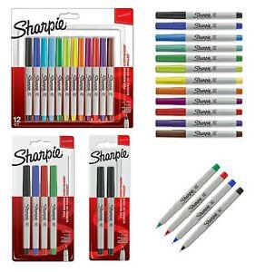 Sharpie Ultra Fine Marker Pens 2, 4, 12 Pack Assorted Colours & Black Permanent
