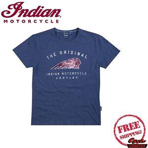 INDIAN MOTORCYCLE BRAND MENS'S HEADDRESS T-SHIRT  BLUE