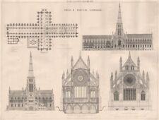 Old St. Paul's, London 1873 antique vintage print picture