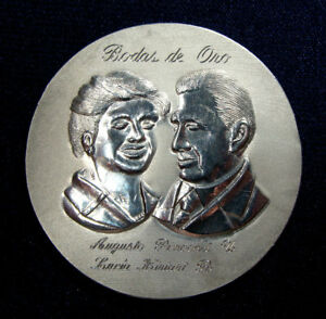 AUGUSTO PINOCHET, FORMER PRESIDENT OF CHILE, GOLD WEDDINGS SILVER MEDAL