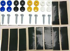 NUMBER PLATE FIXING KIT CAP & SCREW YELLOW WHITE BLACK BLUE X12 & 20 STICKY PADS
